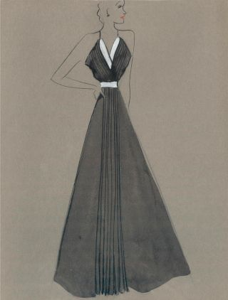 Black V-neck Gown with Pleated Detail. Fashion Illustrations. Charlotte Revyl