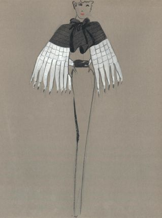 Black and White Fur Cape. Fashion Illustrations. Charlotte Revyl