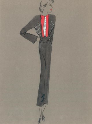 Black Midi Dress with Red Contrast Lapels. Fashion Illustrations. Charlotte Revyl