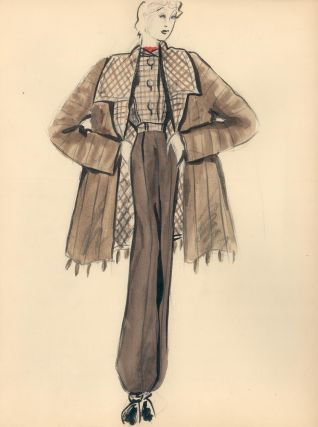 Plaid-lined Fur Coat with Trousers. Fashion Illustrations. Charlotte Revyl