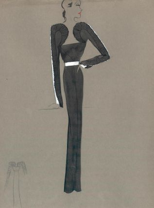 Black Gown with Frilled Sleeves. Fashion Illustrations. Charlotte Revyl