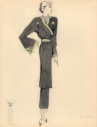 Black, Green, and Pink Midi Wrap Dress with Sketch. Fashion Illustrations. Charlotte Revyl