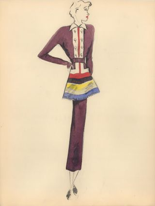 Multi-Color Midi Dress with Skirt Detail. Fashion Illustrations. Charlotte Revyl