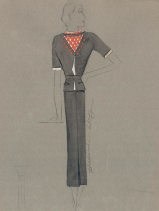 Black Midi Dress with Red-Crossed Neck Detail. Signed by artist. Fashion Illustrations. Charlotte...
