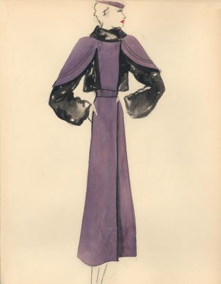 Purple Midi Dress with Shoulder Accents. Fashion Illustrations. Charlotte Revyl