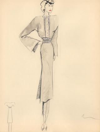 Gray Midi Dress with Blue Wrap Detail. Fashion Illustrations. Charlotte Revyl