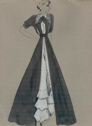 Black Gown with Ruffle Pant Detail. Fashion Illustrations. Charlotte Revyl