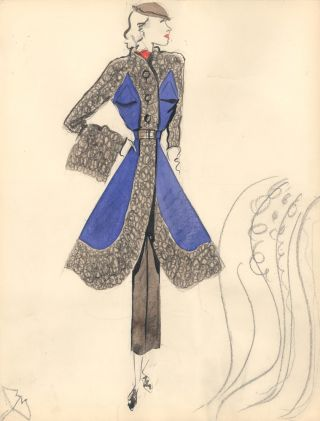 Ruffle and Purple Coat with Sketch. Fashion Illustrations. Charlotte Revyl