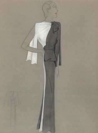 Black and White Gown with Bowed Color Detail. Fashion Illustrations. Charlotte Revyl
