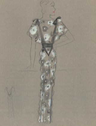 Grey Gown with Flower Pattern and Ruffle Detail. Fashion Illustrations. Charlotte Revyl