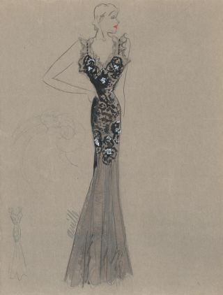 Black Dress with Tulle and Ruffled Strap Detail. Fashion Illustrations. Charlotte Revyl