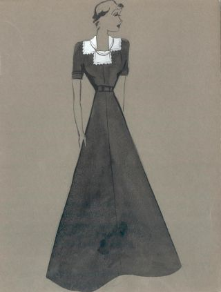 Black Gown with White Collar Detail. Fashion Illustrations. Charlotte Revyl