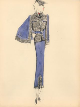 Purple and Gray Frilled Winter Coat with Caped Sleeves. Fashion Illustrations. Charlotte Revyl