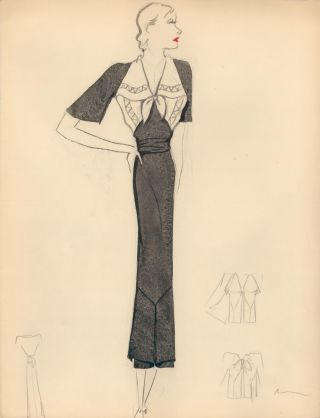 Black Midi Dress with White Handkerchief Detail. Fashion Illustrations. Charlotte Revyl