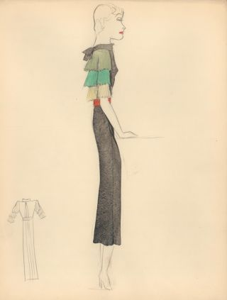 Black Midi Dress with Pleated Multi-Colored Sleeves. Fashion Illustrations. Charlotte Revyl