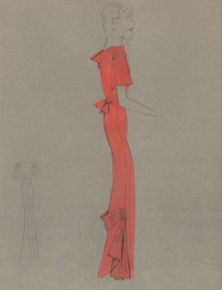 Red Gown with Pleated Detail. Fashion Illustrations. Charlotte Revyl