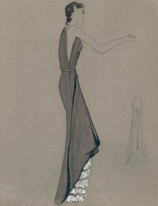 Grey Gown with White Ruffle Detail. Fashion Illustrations. Charlotte Revyl