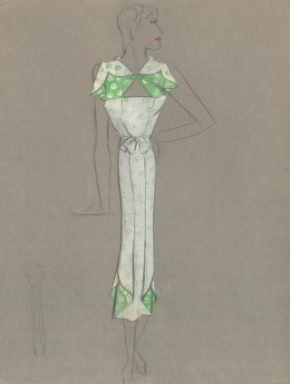 Green and White Midi Dress with Inverse Fold Detail. Fashion Illustrations. Charlotte Revyl
