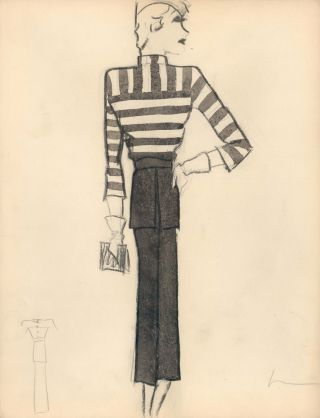 Black and White Striped Shirt with White Gloves. Fashion Illustrations. Charlotte Revyl
