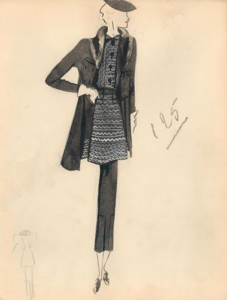 Black Jacket with Fur Accent over Patterned Blouse. Fashion Illustrations. Charlotte Revyl