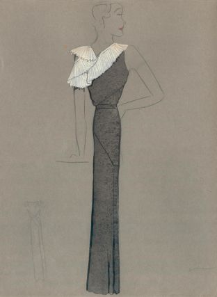 Black Gown with White Pleated Shoulder and Sleeve Detail. Fashion Illustrations. Charlotte Revyl