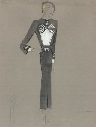 Black and White Midi Dress with Scale Detail on Chest and Cuffs. Fashion Illustrations. Charlotte...
