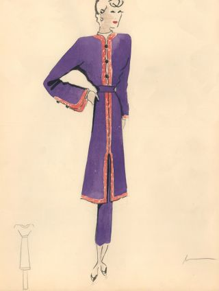 Long Purple Top with Red Hem and Sleeve Detail. Fashion Illustrations. Charlotte Revyl