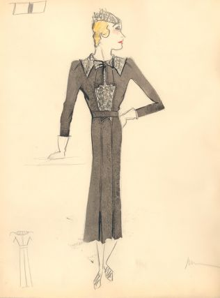 Gray Midi Dress with Ruffled Chest, Shoulder, and Hat Detail. Fashion Illustrations. Charlotte Revyl