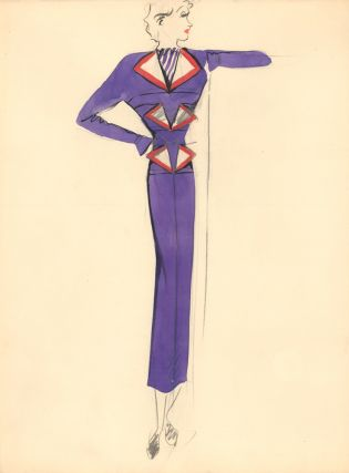 Purple Midi Dress and Blazer with Triangle Detail. Fashion Illustrations. Charlotte Revyl