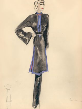 Long Black Top with Purple Hem Detail and Red Collar Accent. Fashion Illustrations. Charlotte Revyl