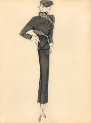Black Coat with Wrapped Ruffle Hem Detail. Fashion Illustrations. Charlotte Revyl