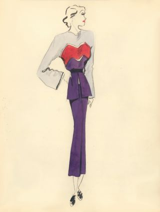 Purple Midi Dress with Light Blue and Red Layer Accent. Fashion Illustrations. Charlotte Revyl