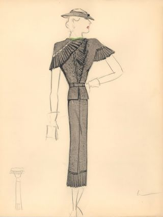 Black Midi Dress with Pleated Chest, Shoulder and Hem Detail. Fashion Illustrations. Charlotte Revyl