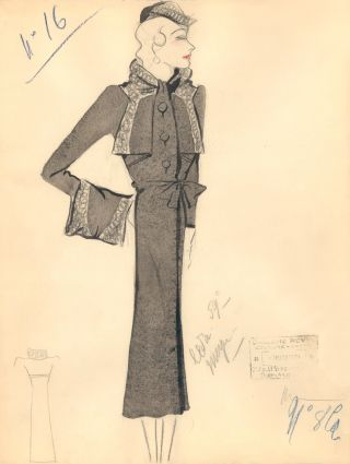 Long Black Coat with Ruffled Hem and Sleeve Detail. Fashion Illustrations. Charlotte Revyl