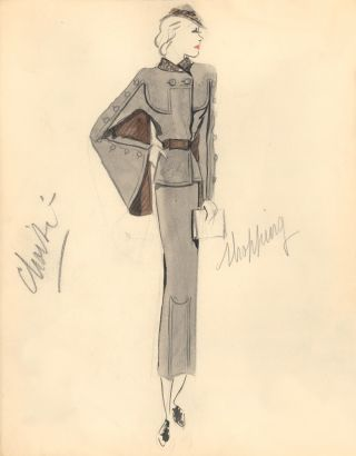 Gray Midi Dress with Brown Caped Sleeve Detail with Buttons. Fashion Illustrations. Charlotte Revyl