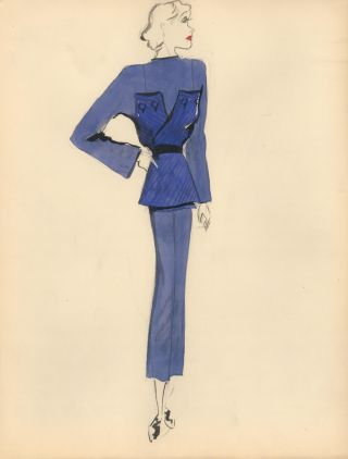 Blue Blouse with Large Buttoned Pattern Wrap. Fashion Illustrations. Charlotte Revyl