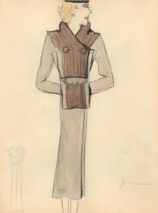 Long Coat with Brown Fur Collar and Front Detail. Fashion Illustrations. Charlotte Revyl