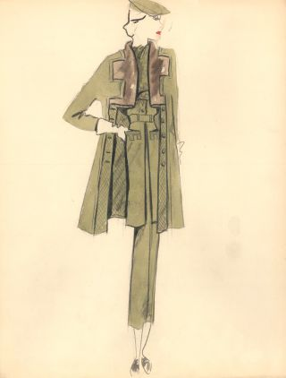 Green Suit Coat with Brown Angular Collar Detail. Fashion Illustrations. Charlotte Revyl