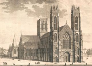 The West Prospect of the Cathedral of York. Britannia Illustrata. Leonard Knyff