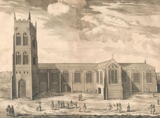 The Cathedral Church of Bangor. Britannia Illustrata. Leonard Knyff