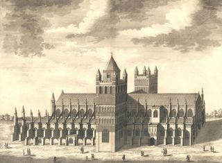 The Cathedral Church of Exeter. Britannia Illustrata. Leonard Knyff