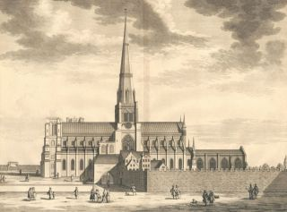 The Cathedral Church of St. Peter in Chichester. Britannia Illustrata. Leonard Knyff