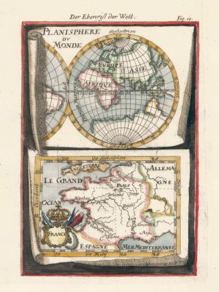 Map of the world and France... Description de l'Univers. Allain Manesson Mallet
