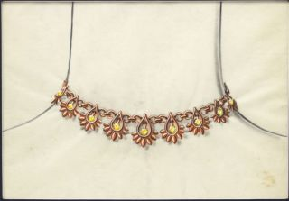 Gold Necklace with Topaz. French school