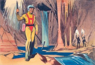 Suited Men in Caves. Science Fiction Imagery and Futuristic Landscapes. French School