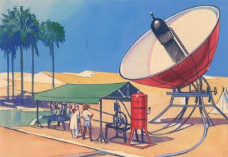 Satellite in Dessert Landscape. Science Fiction Imagery and Futuristic Landscapes. French School