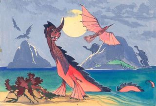 Sea Dragon amid Dinosaurs. Science Fiction Imagery and Futuristic Landscapes. French School