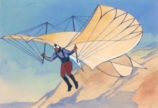 Man with Early Flying Machine. Science Fiction Imagery and Futuristic Landscapes. French School