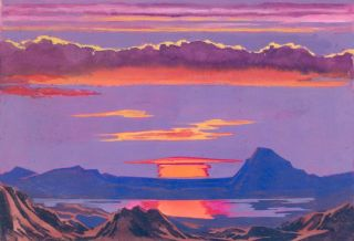 Sunset. Science Fiction Imagery and Futuristic Landscapes. French School