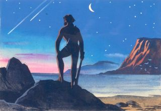 Neanderthal with Nightscape. Science Fiction Imagery and Futuristic Landscapes. French School